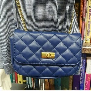J. Crew Blue Quilted Chanel style Crossbody Purse